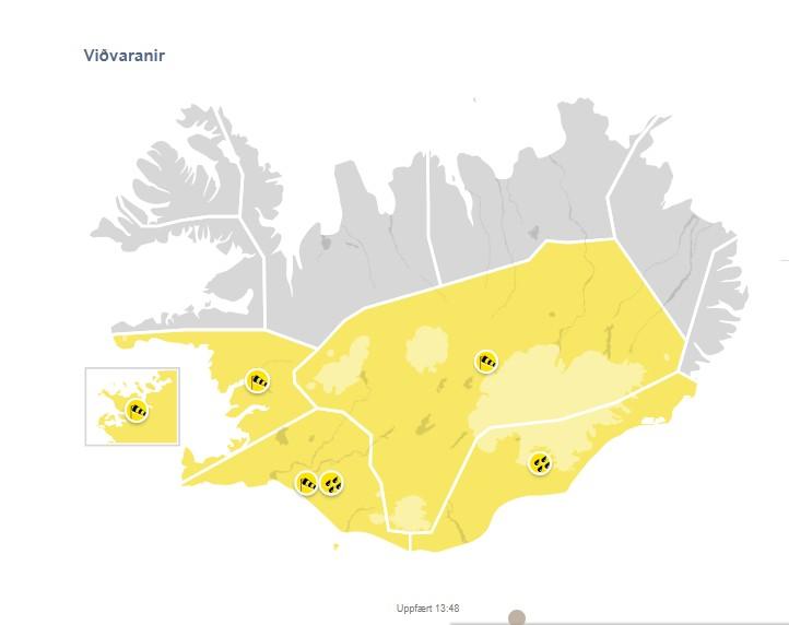 Suðaustan hvassviðri eða stormur (Gult ástand)